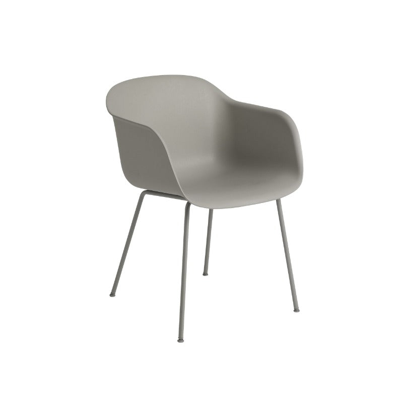 Fiber Arm Chair, Tube Base, Grey/Grey