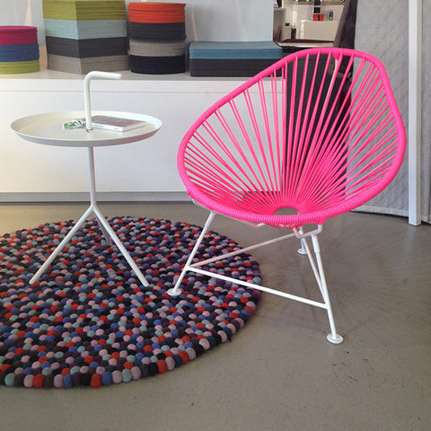 Baby Acapulco Chair,  Pink Cord/White Base