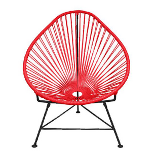Acapulco Chair, Red Cord/ Black Frame