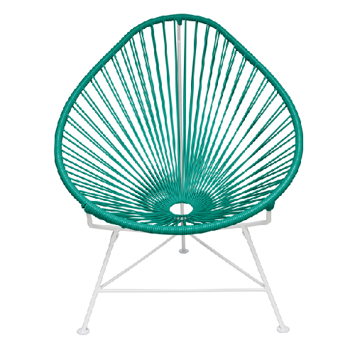 Acapulco Chair, Turquoise Cord/White Base