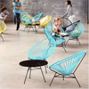 Acapulco Chair, Light Blue Cord/Black Frame
