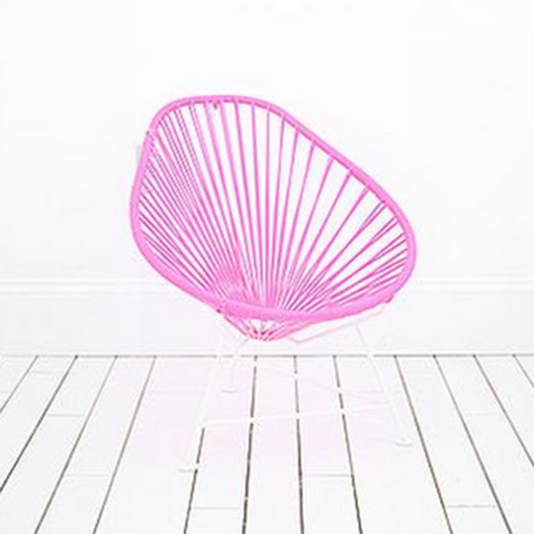 Acapulco Chair, Pink Cord/ White Frame