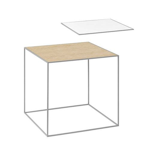 Twin 42 Table, Cool Grey, White/Oak
