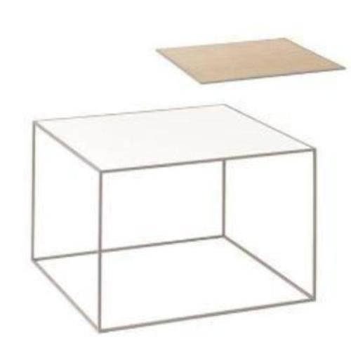 Twin 49 Table, Cool Grey, White/Oak