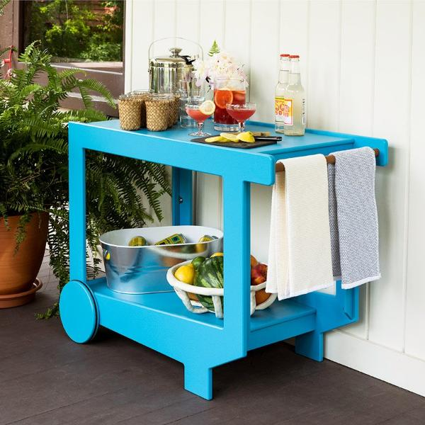 Lollygagger Bar Cart, Sky Blue