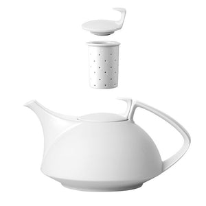 TAC White Tea Pot 45oz, 4 Pc Set