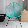 Acapulco Chair, Turquoise Cord/Black Frame
