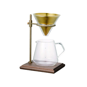 Kinto Slow Coffee Brewer Stand Set, 4 Cup, Brass