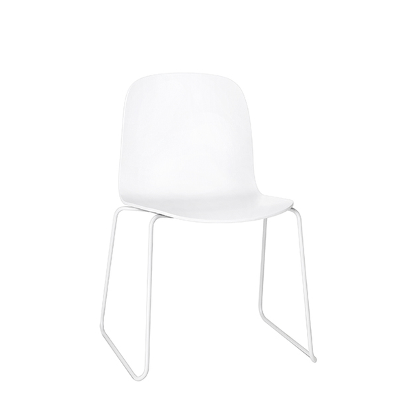 Visu Chair, Metal Base, White/White