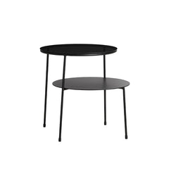 Duo Side Table, Black Painted Metal, Dark Smoked Glass Top