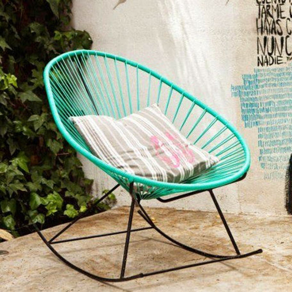 Acapulco Rocking Chair, Turquoise Cord/Black Frame