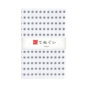 Tenugui Hand Towel, Grey Polka Dot