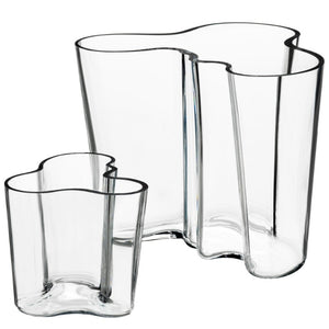 "Aalto Vase, Clear Set of 2, 3.75"" and 6.25"""