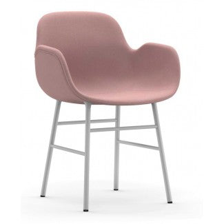 Form Armchair, White steel base, Fame  64169 (baby rose)