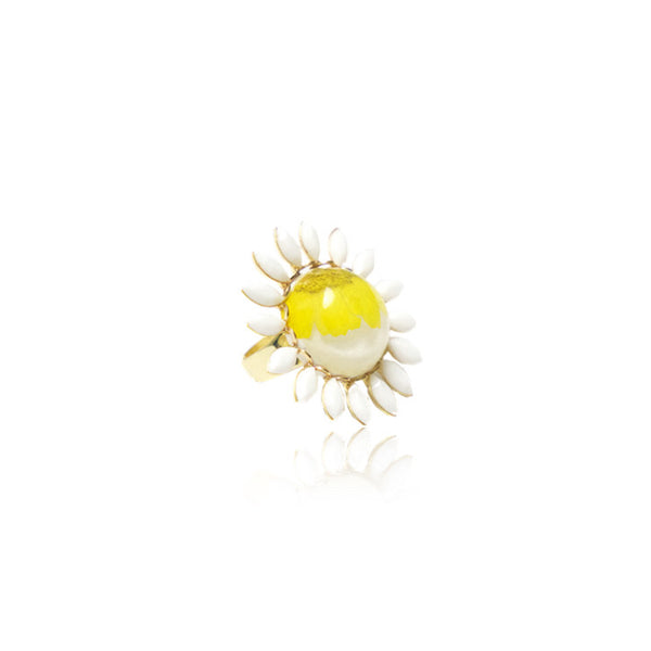 Spring summer ring daisies pressed flower jewelry fashion accessories