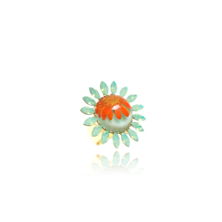 For Spring rings daisies daisy accessories orange mint pressed flower jewelry