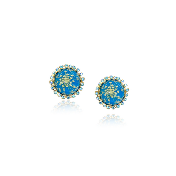 Earrings queen anne's lace flower accessories blue pressed flower jewelry