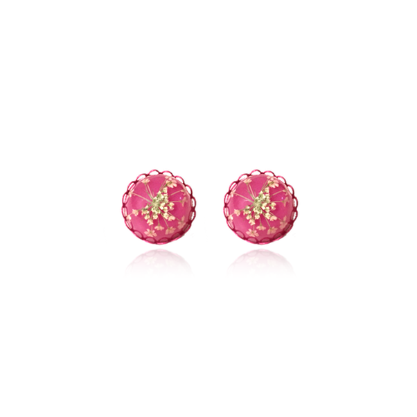 For Spring Earrrings queen annes lace flower accessories pink pressed flower jewelry
