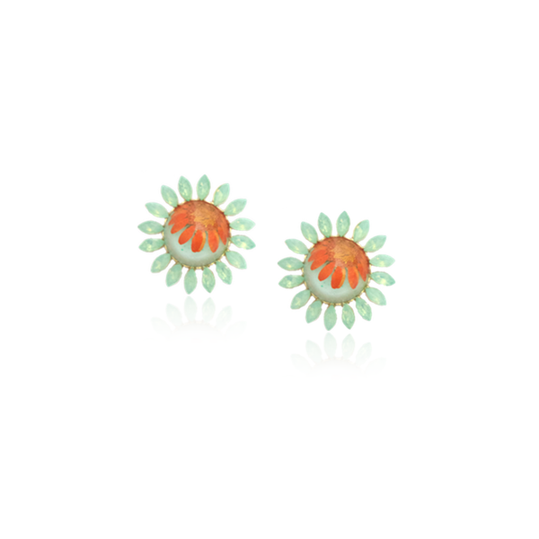 For Spring Earrrings daisies daisy accessories orange mint pressed flower jewelry