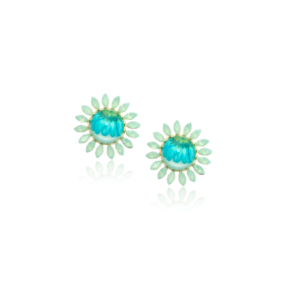 For Spring Earrrings daisies Daisy flower accessories blue turquoise mint pressed flower jewelry