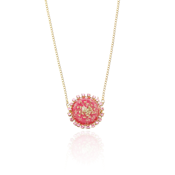 For Spring necklace queen anne's lace accessories pink pressed flower jewelry