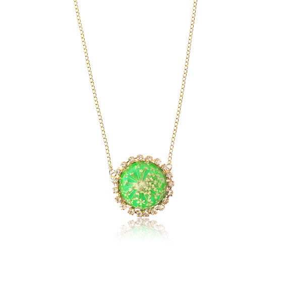 For Spring necklace queen annes lace accessories green lime pressed flower jewelry