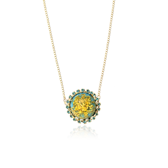 For Spring necklace queen anne's lace accessories blue turquoise yellow pressed flower jewelry
