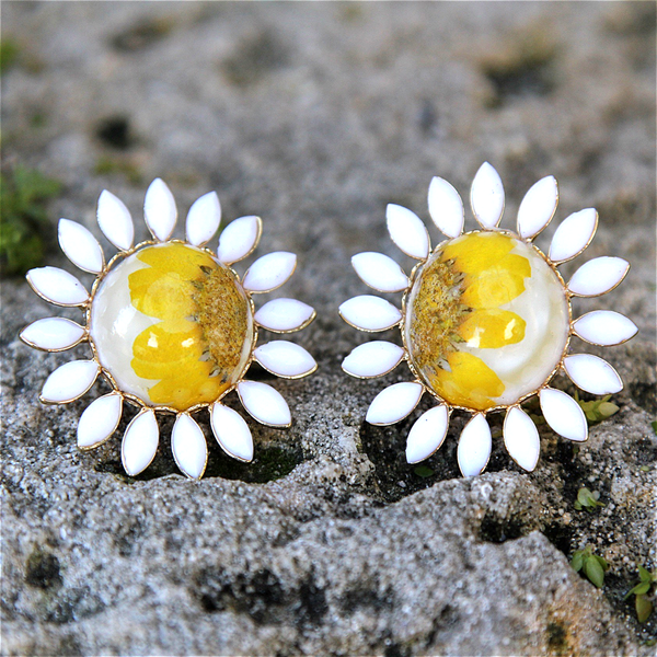 For Spring Earrings daisies daisy accessories pressed flower jewelry