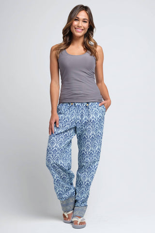 Desi Blue and White Women's Pajama Pant
