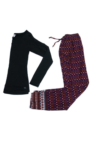 Women's Pajama Set with Maroon Pants and Black Long Sleeve Tee