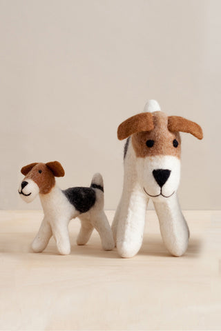 Handfelted Mama Dog and Puppy