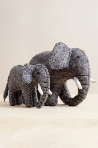 Handfelted Elephants--Mama and Baby
