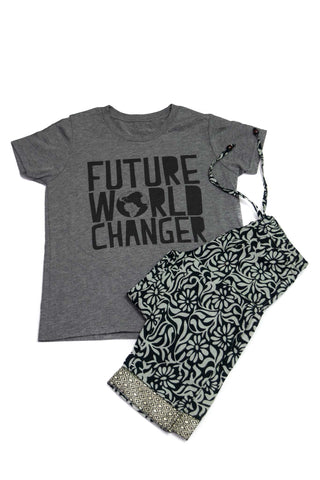 Girls Holiday Set in Kaveri Floral Print Pant and World-Changer Tee