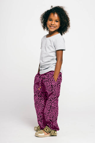 Kaveri Purple Girls Playwear Pants Side