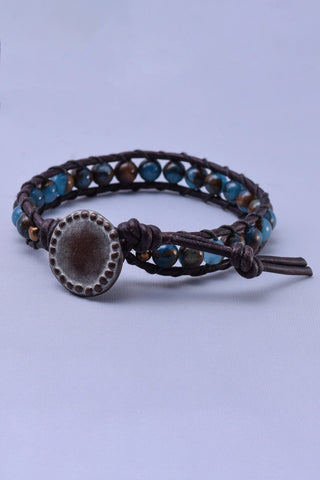 Mocha MaMa Golden Blue Quartz Single Wrap Bracelet