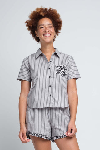 Grey and Black Striped Top and Shorts Sleep Set for Women