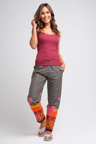 Sudara Black and White with Pink Slouch Pants for Women