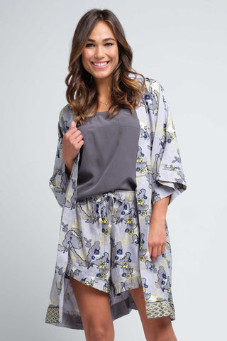 Mitra Women's Grey and Navy Robe
