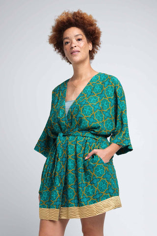 Women's Emerald Green Kimono Robe with Gold Border