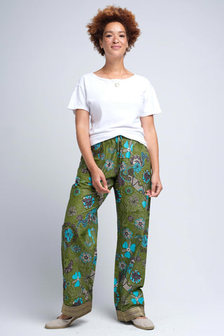 Floral Green Loungewear Pajama Capris for Women