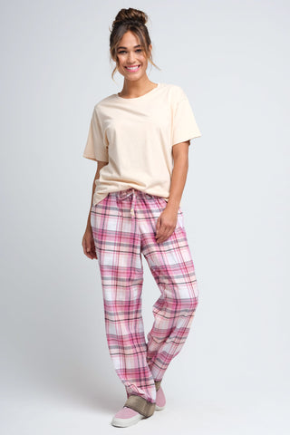 Women's Pink Plaid Flannel Pajama Pants