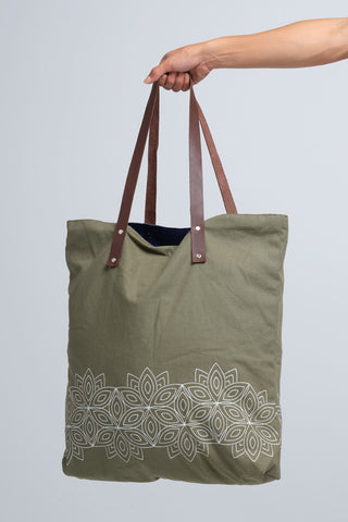 Floral Olive Canvas Tote with Leather Straps