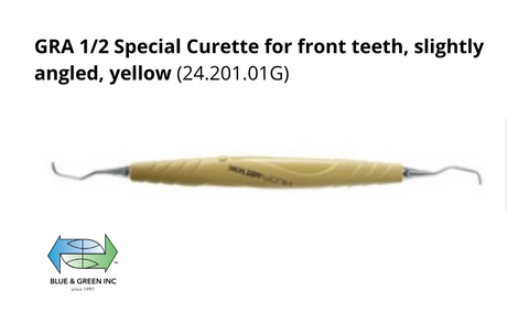GRA 1/2 Special Curette for front teeth, slightly angled, yellow (24.201.01G)