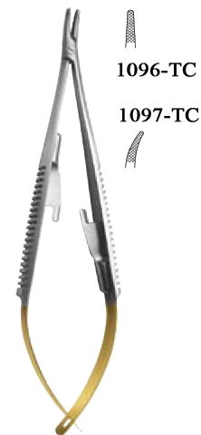 Castravejo Needle Holder, Straight or Curved (1096 & 97 TC) Amalgam Carrier - Blue & Green Inc.