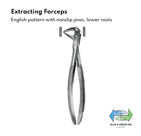 Extracting forceps, English Pattern, with non slip jaws, lower roots(Z 117-74) Forceps - Blue & Green Inc.