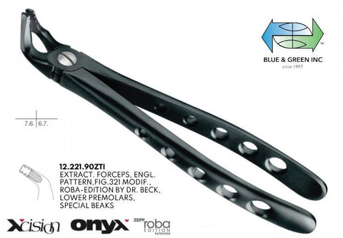 Onyx Roba Extraction Forceps, Lower Pre Molars, Special Beaks (12.221.90ZTI) Forceps - Blue & Green Inc.