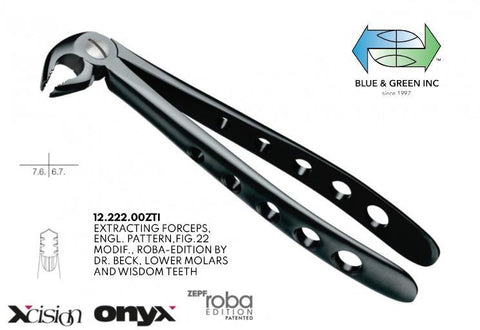 Roba Extracting Forceps, Lower Molars and Wisdom Teeth (12.222.00ZTI) Forceps - Blue & Green Inc.
