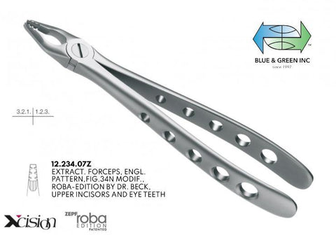 Roba Forceps, Upper Incisors and Eye Teeth (12.234.07Z) Forceps - Blue & Green Inc.