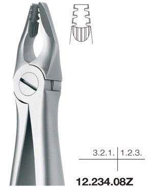 Roba Extraction Forceps, Upper Incisors and Canines (12.234.08Z) Forceps - Blue & Green Inc.
