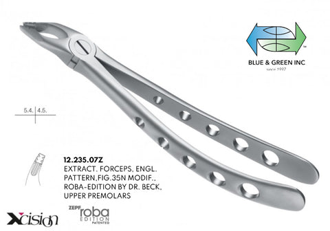 Roba Extraction Forceps, Upper Premolars (12.235.07Z) Forceps - Blue & Green Inc.